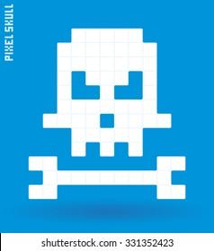 Pixel art skull and bone isolated, vector illustration
