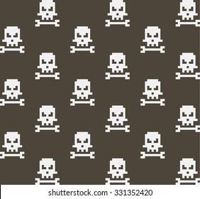 Pixel art skull and bone seamless pattern, vector illustration