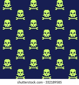 Pixel art skull and bone seamless pattern, vector illustration