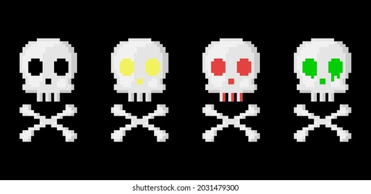 Pixel art skull and bones set. 8 bit style retro game skull and crossbones collection for halloween decoration. Toxic, acid, devil, glowing, death skull and bones in pixel art retro style. Vector.