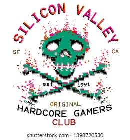 pixel art skull and crossbones illustration nerd gamers tee shirt print graphic design