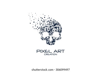Pixel art skull logo on white background.