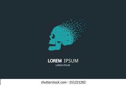Pixel art skull logo. Vector logotype design.