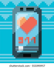 Pixel art smartphone. Vector illustration. Concept of 8 bit particles. Old video game style. Retro design. Pixel love