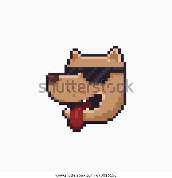 Image Vectorielle De Stock De Pixel Art Souriant Tête De
