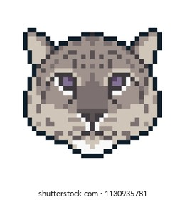 Pixel art snow leopard isolated on white background.