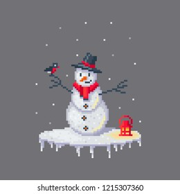 Pixel art snowman in hat. Cute greeting illustration on holidays.