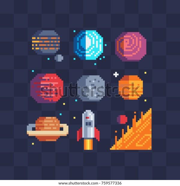 Image Vectorielle De Stock De Pixel Art Ensemble Dicônes