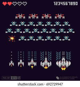 Pixel art space ufo invaders - arcade video game template. Pixel explosion, space ship upgrade or powered up. 8 bit retro game machine