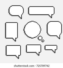 pixel art speech cloud vector dialogue text box window