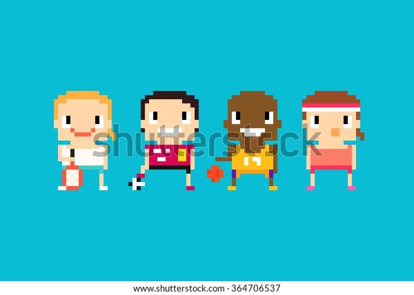 Image Vectorielle De Stock De Pixel Art Sport Characters