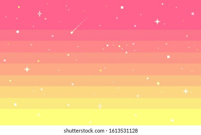 Pixel art star sky at dawn time. Starry morning sky seamless backdrop.Vector illustration.