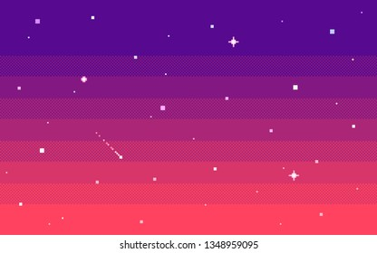 Pixel art star sky at evening. Seamless vector background.