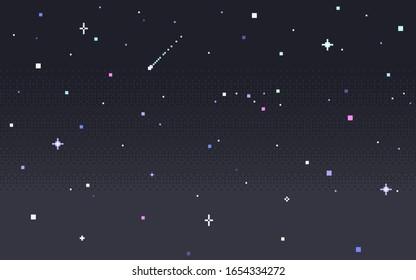 Pixel art star sky at night. Starry sky seamless backdrop. Vector illustration.