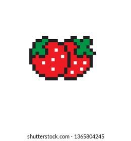 pixel art strawberry