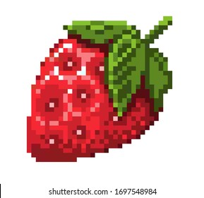 pixel art strawberry icon. 32x32 pixels. Vector illustration on a white background.