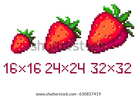 Pixel art strawberry icon in different size isolated on white background
