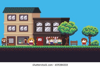 Pixel art street with park, shop, cafe and happy people