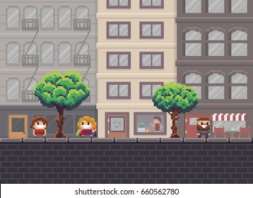Pixel art street with trees, shop, cafe and happy people