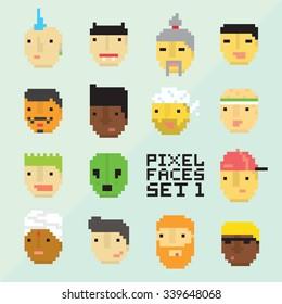 Pixel art style 15 cartoon avatar faces vector set 1