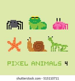 Pixel art style animals cartoon vector set 4