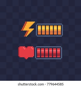Pixel art style. Battery charge. Full health bar. Video game 8-bit sprite. Sign energy, heart. Isolated abstract vector illustration.