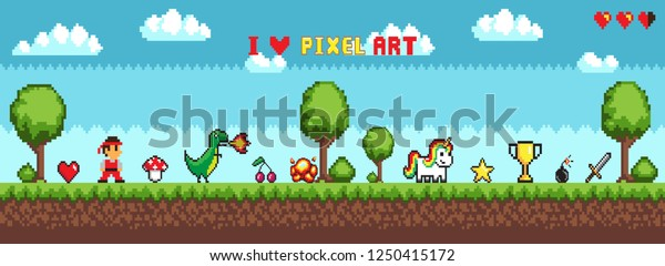 Pixel Art Style Character Game Arcade Stock Vector Royalty
