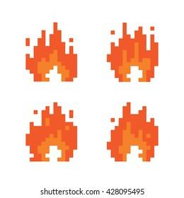 Pixel art style fire animation isolated vector illustration set
