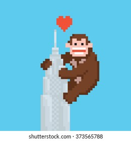 Pixel art style gorilla on a skyscraper vector illustration