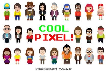pixel art style occupation people set