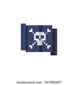 Pixel art style pirate flag. Jolly Roger. Skull crossbones. 8-bit. Sticker design. Isolated abstract vector illustration.