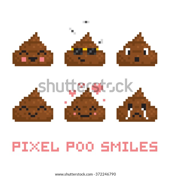 Pixel Art Style Poo Smile Vector Stock Vector Royalty Free 372246790
