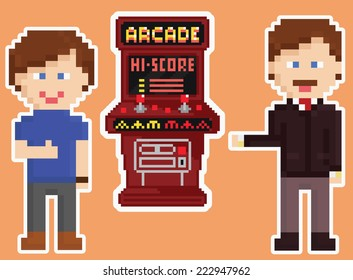 pixel art style red arcade cabinet with two happy gamers showing thumb up isolated on orange background