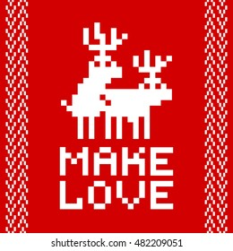 Pixel art style retro game two deers making love vector illustration red