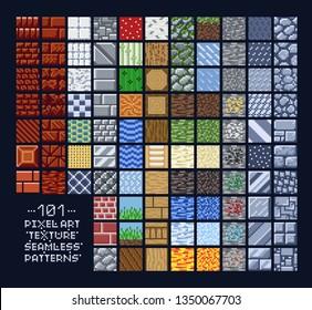 Pixel art style set of different 16x16 seamless texture pattern sprites - stone, wood, brick, dirt, metal, stripes, grain, grass, snow, ice, fire - 8 bit game design background tiles.