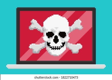 Pixel art style vector illustration of virus skull on laptop screen. Security vector illustration, flat cartoon design desktop pc, concept of firewall protection, privacy access,