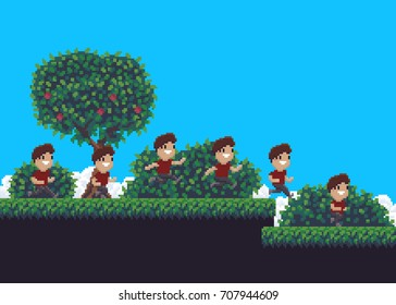 Pixel art summer scene with tree, grass, clouds and running man