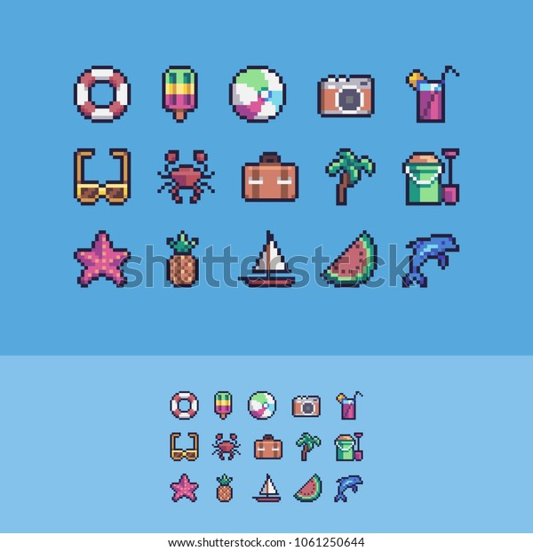 Pixel art summer vacation vector icons set.