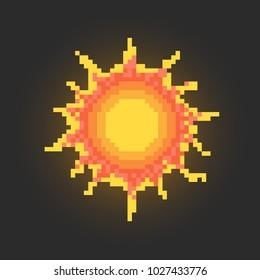 Pixel art sun icon design.