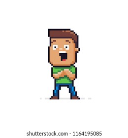 Pixel art surprised male character with open mouth isolated on white background