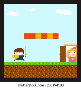 Pixel art swordsman prince running to his princess staying behind the door in location with sky and clouds, grass, soil and brick wall