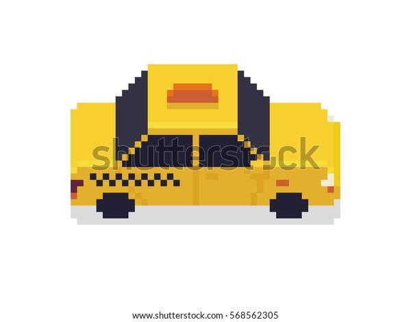 Image Vectorielle De Stock De Voiture De Taxi Pixel Art