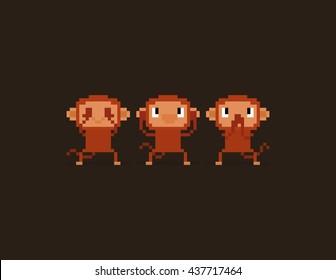 Pixel art three wise monkeys characters, see no evil, hear no evil, speak no evil. No see, no hear, no speak