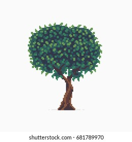 Pixel art tree isolated on white background