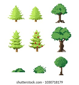 Pixel art trees set.8 bit art vector.