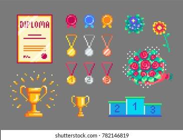 Pixel art trophies and medals set. Isolated vector icons.