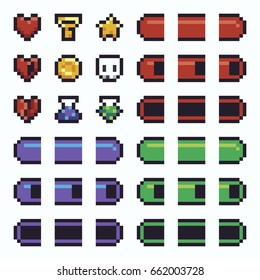 Pixel art UI elements with health, mana and agility stamina bars, potions, star, key, skull, coin, heart
