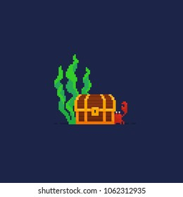 Pixel art underwater composition with treasure chest, crab and seaweed