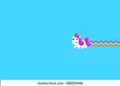 Pixel art unicorn with rainbow tail isolated on dark background isolated on blue background