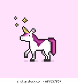 Pixel art unicorn with stars. White pixel unicorn with pink hair and golden stars. Isolated on pink background.Colorful pixel art design and print for t-shirt, cards, posters, invitations.